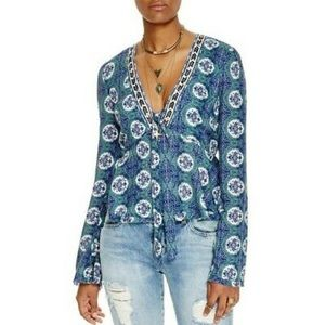 Free People Time Of Your Life Blue Top